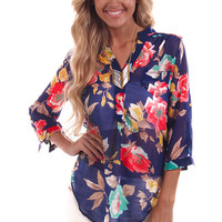 Navy Floral Print Gold Button Accent Top