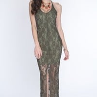 Olive Lace Overlay Slit Front Sexy Maxi Dress