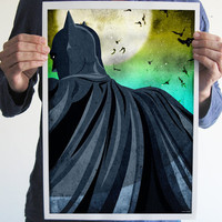 Batman comics print art poster geek geeky superhero dark knight movie poster men home decor bats