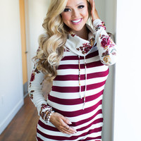 Where Do Broken Hearts Go Striped Floral Cowl Neck Top Burgundy