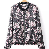 Black Abstract Print Zip-Up Jacket