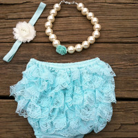 The Aqua Blue's Lace Diaper Cover Baby Bloomer Ruffle Butt Set-Chunky Necklace