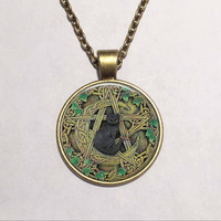 Glass Dome Pendant Black Cat Wicca Pendant Necklace Pentagram Wiccan Jewelry Charm
