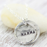 KARMA Circle Necklace - Good Karma - Sterling Silver Handmade - Hand Stamped - Christina Guenther