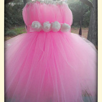 Pink Tulle Flower Girl Tutu Dress / Junior Bridesmaid Dress / Pageant Dress / Junior bridesmaid Pink Christening Gown