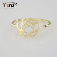 New Fashion Gold Classic Lotus Cool Ring Unique Lotus Shape Finger Ring for Women Cute Plant Midi Simple Rings R077