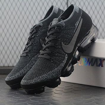 2018 Nike Air VaporMax Vapor Max 2018 Flyknit Men Women Triple Black Sport Running Shoes 899473-003
