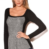 Boston Proper Lurex peplum sweater