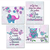 Owl Elephant Nursery decor baby girl room wall art kids typography poster She leaves a little sparkle Let her sleep turquoise pink purple