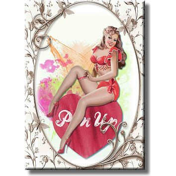 Vintage Pin Up Girl Sitting on Heart Picture on Stretched Canvas, Wall Art Décor, Ready to Hang