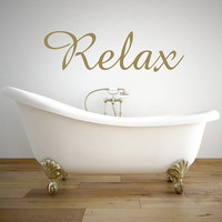Relax Wall Decal - Relax Sign - Bathroom Decor - Bathroom Wall Decor - Bathroom Sign - Bathroom Wall Art - Bathroom Wall Decals -Wall decals