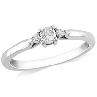 Lab-Created White Sapphire and Diamond Accent Three Stone Promise Ring in Sterling Silver - View All Rings - Zales
