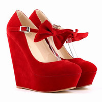 Thick Bottom Suede Club Bowknot Wedges Heels Shoes