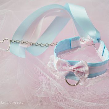 Princess Pink and Blue Collar and Chain