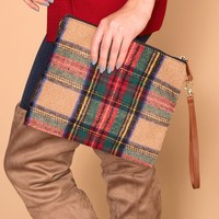 Plaid To Meet You Beige Clutch