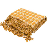 Gingham Plaid Cotton Yellow Throw Blanket