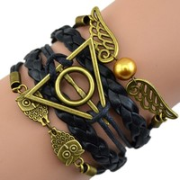Aceshin Harry Potter Synthetic Leather bracelet Snitch Angel Wings Owl