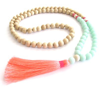 Boho Tassel Necklace - Aqua, Neon Orange & Pink