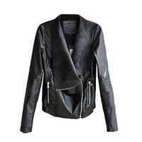 ROPALIA Womens Ladies Slim Biker Motorcycle PU Leather Zipper Jacket Coat