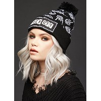 F Off Skull Beanie with Pom Pom