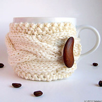 Valentine White Coffee Cup Cozy, Coffee Cup Sleeve, Coffee Cozy, Coffee Mug Cozy, Tea Cup Cozy, Love Kiss Winter Nature Snow ohtteam theteam