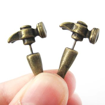 Fake Gauge Earrings: Realistic Hammer Shaped Faux Plug Stud Earrings in Bronze