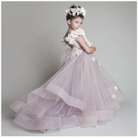 Charming Lavender Flower Girl Dresses Hot Sale 2017 A-Line Tulle Court Train Cap Sleeve Flowers Wedding Girl Dress Custom Made