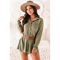 Giana Long Sleeve Button-Down Belted Romper (Olive)