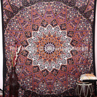 Indian Star Hippie Mandala Psychedelic Tapestry, Wall Hanging Tapestry, Queen Throw Ethnic, Cotton Bedspread Bedding Home Decor, Beach Sheet