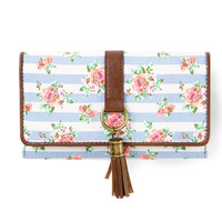 Floral Striped Wallet with Tassel