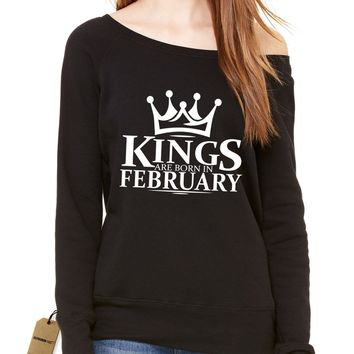 Kings Are Born In February Slouchy Off Shoulder Oversized Sweatshirt