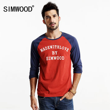 SIMWOOD 2016 New Autumn Long sleeve T-shirt  men pullovers O neck letter Shirt Cotton Causal TL3510