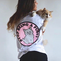 RIPNDIP Stop Being A Pussy White T-Shirt