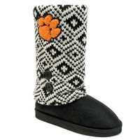 Clemson Tigers Sweater-Knit Microsuede Boot Slippers