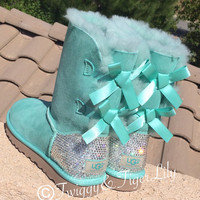 Swarovski Crystallized Ugg Boots - Bling Surf Spray Bailey Bow Uggs with Swarovski Crystal Bling Boot Heel - Mint Uggs with Crystal Bling