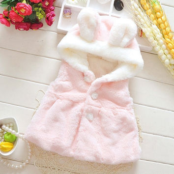 2015 New Cute Rabbit Autumn Winter Warm Fleece Fur baby girl Waistcoat jacket- N5 = 1931569732