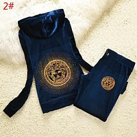 Versace Hoodie Diamond Human Head Top Sweater Pullover Pants Trousers Set Two-Piece Sportswear Women