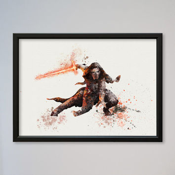 Star Wars Kylo Ren Poster Watercolor Print Wall Decor Fine Art Giclee Wall Hanging Watercolor Sith Lord starwars 7