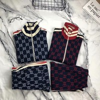 Gucci winter fashion BFull printed sports suit blue/red