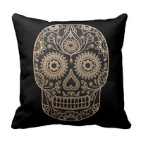 Day Dead Sugar Skull Throw Pillows