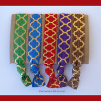 5 FOIL Hair TIES - Red, Green, Purple, Brown, Blue w/ Gold and Silver Foil Print, Stocking Stuffer Christmas Gift