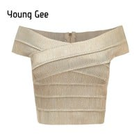Young Gee 2018 New V-neck Off Shoulder Women Bandage Crop Top Sexy Bodycon Tank Tops Summer Cropped Fitness Streetwear blusas