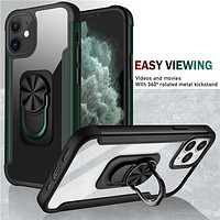 Case For iPhone 12 Pro Max 11pro 7 8 Plus XS XR Transparent Back Cover Holder Ultra Thin Kickstand Phone Case For iPhone 12 Mini