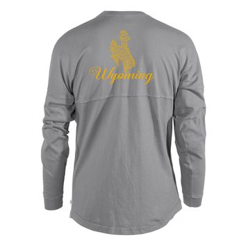 Official NCAA University of Wyoming Cowboys Fight Pistol Pete Women's Long Sleeve Spirit Wear Jersey T-Shirt
