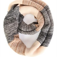 Tricolor Striped Marled Knit Infinity Scarf