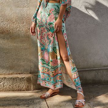 lotus Maxi Split Skirt Cotton Floral Print Boho Chic Beach Skirts High Waist Long Skirt Women Skirts