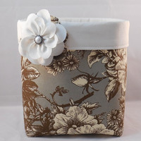 Gray, Brown and Cream Floral Fabric Basket With Detachable Fabric Flower Pin For Storage Or Gift Giving