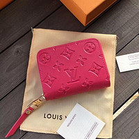Louis Vuitton LV fashion men's and women's printed letter flip small wallet rose