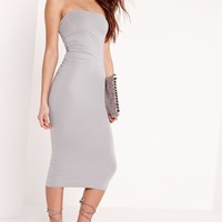 Missguided - Jersey Bandeau Midi Dress Grey