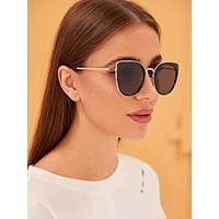 Plain Frame Flat Lens Sunglasses With Case